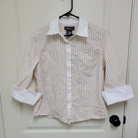 Tan & White Striped Blouse - 3/4 Cuffed Sleeves - size 12/14